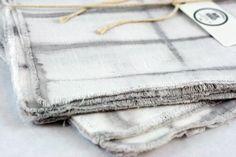 Grey and White Shibori Dyed Linen Napkins (set of 2) - The Lesser Bear