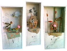 Boxes created by Miss Clara from his designs for paper Three Little Pigs to be published SCARABEA to admire the breath, the Three Owls at Bon Marché. Shadow Box Kunst, Shadow Box Art, Art Altéré, Cuadros Diy, Paper Art, Paper Crafts, Matchbox Art, Creation Deco, Paperclay