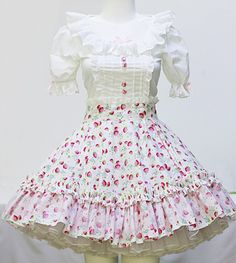 White Strawberry Lolita Top and Skirt