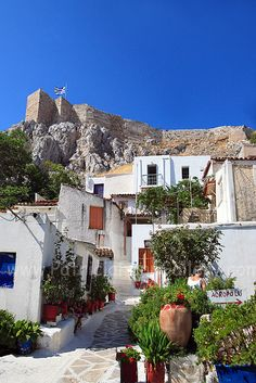 "*GREECE ~ the ""Anafiotika"" neighbourhood just under the rock of the Acropolis, Athens, Places Around The World, The Places Youll Go, Places To See, Around The Worlds, Beautiful World, Beautiful Places, Athens Greece, Acropolis Greece, Mykonos Greece"