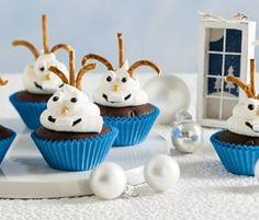 Snowman Cupcakes: Do you want to build a snowman?. http://www.bakers-corner.com.au/recipes/cupcakes/snowman-cupcakes/