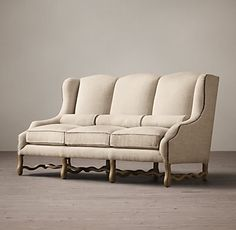 French Upholstered Wing Settee:Regal design from the early century inspired our accommodating seating, generously proportioned and cushioned for comfort. Furniture Vanity, My Furniture, Classic Furniture, Antique Furniture, Regal Design, Woman Cave, Large Sofa, Fabric Sofa, Modern Decor