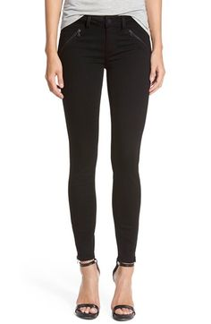 Paige Denim Paige Denim 'Dover' Exposed ZipAnkleSkinny Jeans (Black Shadow) available at #Nordstrom