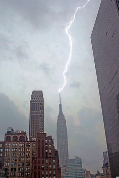 "Another bolt of lightning striking the Empire State Building, this time on August 8, 2011 during another severe storm. On the night of April 12 of the same year, the building was even struck three times in a row during a bad thunderstorm. So much for the old saying, ""lightning doesn't strike the same place twice"" because it does, so beware!"