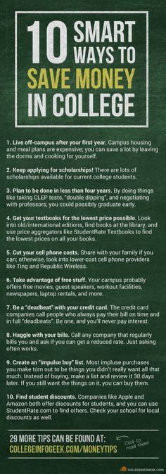 A list of 10 great ways to cut the cost of #college! 29 more in the blog post. save money in college, fast ways to save money #collegelife