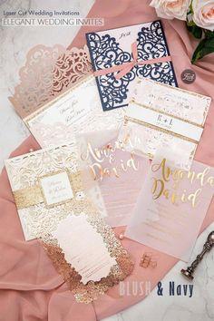 Navy and blush wedding invites with glitter design, laser cut pocket and rose gold foil design for elegant wedding ideas
