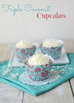 Triple Coconut Cupcakes by crazyforcrust.com | Coconut in every bite!