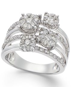 Elegance at its finest. This multi-row ring from Effy sparkles with round-cut diamonds (1-1/5 ct. t.w.). Crafted in 14k white gold. Size 7. | 1-1/5 Carat Diamond Ring | Diamond Color Rating Code: H-I
