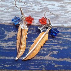 Patriotic Earrings, 4th of July Earrings, Red, White and Blue  Earrings, Summer Jewelry, Womens Jewelry