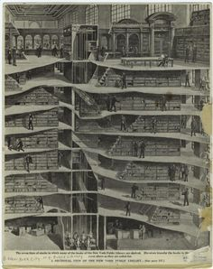 """""""The seven tiers of stacks in which many of the books of the New York Public Library are shelved."""" (From Scientific American, 1911) [via MAD]"""