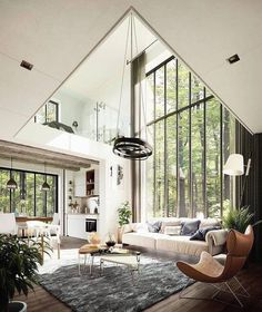great room with floor to ceiling windows, modern rustic house in the forest, modern living room #ModernHomeDecorLivingRoom