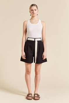 Birder Pleated Short – Lee Mathews Pleated Shorts, Poplin, Short Dresses, Project 333, Dressing, Ballet Skirt, Fabric, Model, Cotton