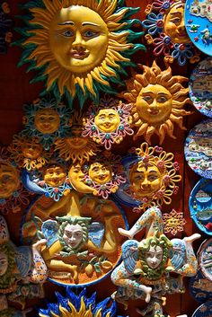 Pottery suns and Trinacria in tourist shops and Sicilian pottery Érice, Erice, Sicily stock photos. Sun Moon Stars, Sun And Stars, Good Day Sunshine, Sun Designs, Italian Pottery, Sun Art, Pictures Images, Clay Art, Artsy