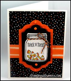 handmade Halloween card from Stampingwithamore . jar with candy corn . like the basic layout . Stampin' Up! Halloween Jars, Homemade Halloween, Halloween Projects, Holidays Halloween, Halloween 2016, Halloween Decorations, Fall Cards, Holiday Cards, Christmas Cards