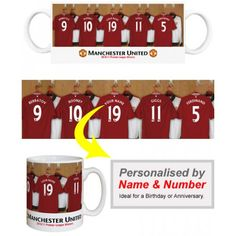Man Utd Personalised Player's Mug Appear alongside Manchester United Greats like Rooney and Giggs.    We merge your Surname and chosen number onto the centre shirt in the Official Manchester United dressing room. Displayed on a quality, durable mug, this superb full-colour design is guaranteed to make you the envy of the office. Manchester United Gifts, Manchester United Legends, Arsenal Gifts, Man United, Gifts For Boys, Dressing Room, Envy, Centre, Unique Gifts