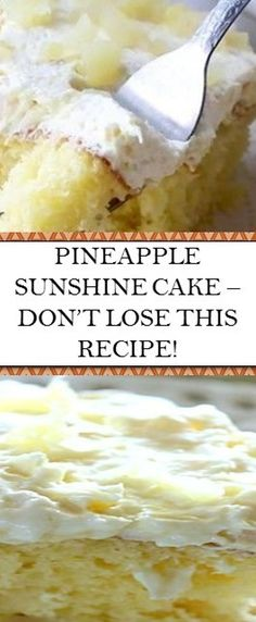 Excellent how to make projects are offered on our website. Have a look and you wont be sorry you did. Dessert Cake Recipes, Cookie Desserts, Easy Desserts, Delicious Desserts, Pineapple Desserts, Pineapple Recipes, Pineapple Cake, Sunshine Cake, My Best Recipe