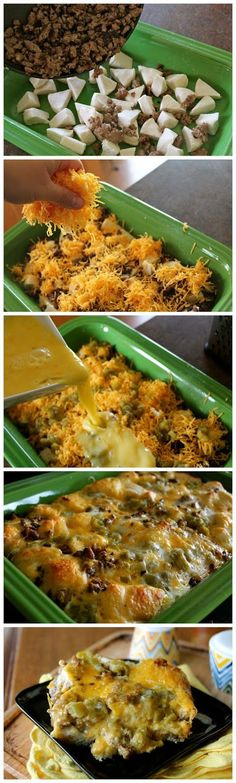 Bubble Up Breakfast Bake!!  Sausage, Eggs and Ooey Gooey Cheese over Biscuits!!.
