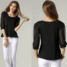 be49dff84b0 UNOMATCH WOMEN FORMAL WEAR LACE DECORATED SLEEVES BLOUSE BLACK Product  Code  UWSB786 ☏ For Contact   +1 201 665 5009  unomatchshop  dress  sexy   womendress ...