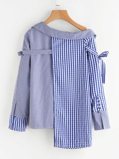 Online shopping for Asymmetric Shoulder Belt Detail Staggered Hem Mixed Gingham Blouse from a great selection of women's fashion clothing & more at MakeMeChic.COM.