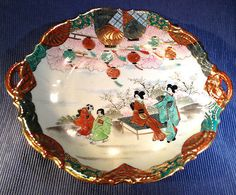 SOLD! NIPPON-Festival-Plate-With-Lanterns-Hand-Painted-Embossed-Gilding-Moriage
