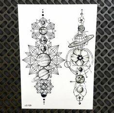 Space Stars Black Diamond Geometry Owl Temporary Tattoo Sticker WOmen Fake Henna Waterproof Tattoo Decals Crystal Body Art ARm Tatoo - Brand Name: YURAN Model Number: Size: Type: Temporary Tattoo Fake Tattoos, Trendy Tattoos, Body Art Tattoos, New Tattoos, Tattoos For Guys, Maori Tattoos, Wing Tattoos, Tattoo Forearm, Feminine Tattoos
