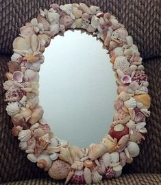 Sea Shell Art Mirror Oval  Handmade by TimelessTreasuresbyB, $59.00