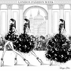 London Fashion Week 2016 by Megan Hess Megan Hess Illustration, Illustration Art, London Fashion Week 2015, Kerrie Hess, Arte Fashion, Fashion Design, Photo Instagram, Limited Edition Prints, Decoration