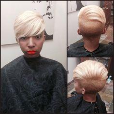 Hair color shave and cut! Short Sassy Haircuts, Short Hair Cuts, Short Hair Styles, Pixie Styles, Mohawk Styles, Pixie Cuts, Love Hair, Gorgeous Hair, Locks