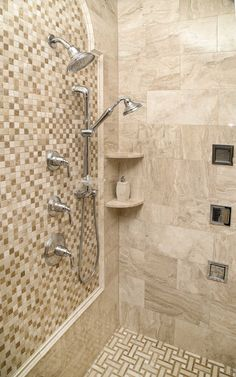 """""""This bathroom is a wonderful showcase of Diana Royal Modern Polished Marble. Floor Featured: DIANA ROYAL POLISHED LATTICE MARBLE MOSAICS 12X12 http://www.marblesystems.com/product/diana-royal-and-paradise-polished-basket-weave-marble-mosaics-12x12/"""