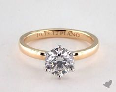 1ct Solitaire Round Engagement Ring Yellow Gold
