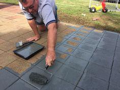 Paving the Way - Transforming Old Pavers — Pearson + Projects Cement Pavers, Outdoor Pavers, Painted Pavers, Garden Pavers, Patio Slabs, Brick Paving, Concrete Patio, Backyard Patio, Limestone Paving