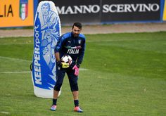 Gianluigi Buffon  in action during the training session at the club's training ground  at Coverciano on November 10, 2016 in Florence, Italy.