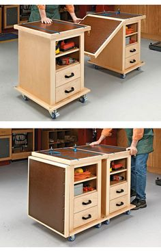 Extendable Multifunction Workbench on casters http://www.woodsmithplans.com/plan/multifunction-shop-carts/