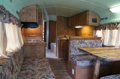 School Bus RV Conversion with old school upholstery on cushions & curtains - sleeps 7