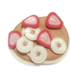 Felt pancakes with strawberries and bananas pretend play food perfect for play kitchens