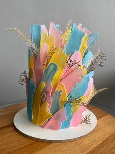 Brushstroke Cake, Buttercream Cake, Art Cakes, Artists, Buttercream Ruffles
