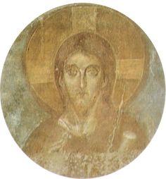 Maestro di Castelseprio -  Cristo benedicente - ciclo di affreschi - tra il VI e il X secolo Chiesa di Santa Maria foris portas a Castelseprio, Varese