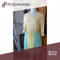 Emmelee Lemon🍋Mint Pleated Skirt Francesca's pretty lined poly lemon and mint pleated skirt. Lemon waist band. Back is full mint color. Emmelee Skirts Circle & Skater