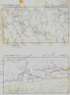Film: Castle In The Sky ===== Layout Design: Opening Credits ===== Production Company: Studio Ghibli ===== Director: Hayao Miyazaki ===== Producer: Isao Takahata ===== Written by: Hayao Miyazaki ===== Distributed by: Toei Company