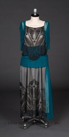 Evening gown, 1919-1920, chiffon and beaded silk net