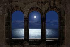 Portovenere windows over he sea of Chiesta di San Pietro