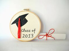 Class of 2013, graduation gift, College Graduation, Hand embroidery hoop wall art, mortarboard, red tassel