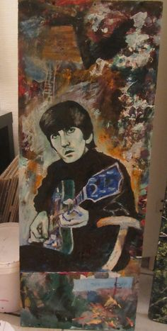 "60 Watts Plausible | David Charles Fox |  15"" x 3'5"" davidcharlesfoxexpressionism.com #beatles #beatlesart #beatlespainting #originalart #expressionism #abstract #abstractpainting #georgeharrison #georgeharrisonart #abstractart"
