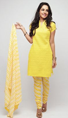 Look at this flattering Yellow dress material! cant resist?? Go here > http://shopnaari.com/products/white-georgette-with-white-embroidery-unstitched-kurta-set-1