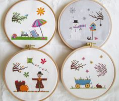 Four Seasons Cross Stitch Pattern Set-spring, summer, autumn, winter, PDF, instant download by BisforBumblebee on Etsy https://www.etsy.com/uk/listing/236316210/four-seasons-cross-stitch-pattern-set