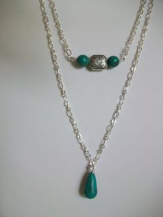 Aqua and Silver Chain Delicate 2 Strand Necklace by DesignTrendsJewelry on Etsy