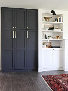 Vintage Kitchen Paint Color - Cyberspace by Sherwin Williams. IKEA PAX cabinets with shaker doors by Semihomemade. - Built in pantry using DIY shaker doors from Semihandmade painted navy Ikea Hacks, Ikea Pax Hack, Hacks Diy, Ikea Office Hack, Ikea Sektion Cabinets, Wall Storage Cabinets, Armoire Ikea, Ikea Pax Wardrobe, Wardrobe Wall