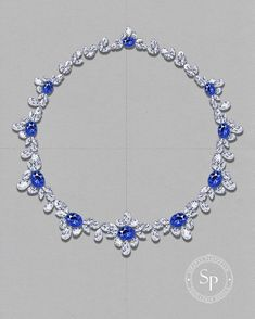 Sirapat Ploypetch Design - A sketch of the Aegeon necklace from my Mediteranion Voyage collection (2015) #SPjoaillerie #hautejoaillerie #sketch #sapphire #diamonds #jewelrydesign #jewelryrendering #jewelrydesigner #bangkok
