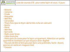 Menus simples pour 5 jours + Liste de courses - Association Marguerite & Cie - Reconnaissance et Protection du lapin de compagnie