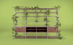 Das große, modulare Regal aus Holz ist individuell planbar, bietet viel Stauraum und ist auch als Raumtrenner einsetzbar.